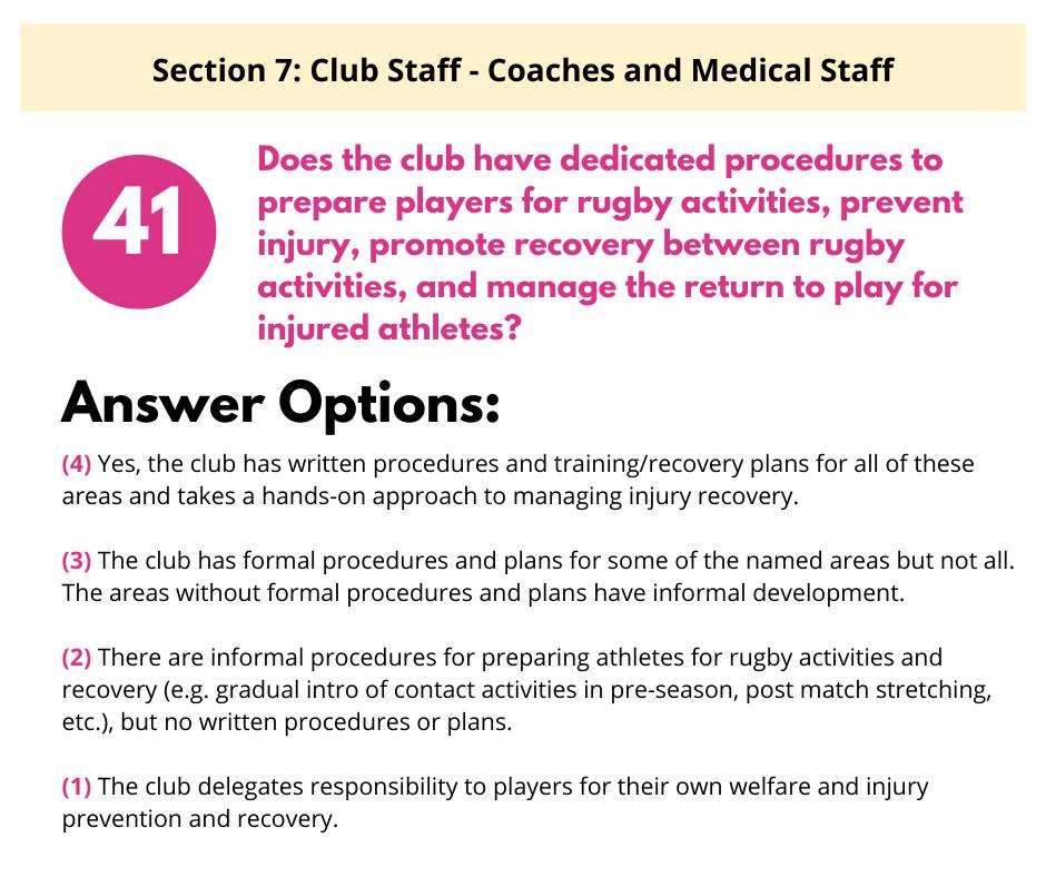 S7 Q6 Player Welfare Procedures