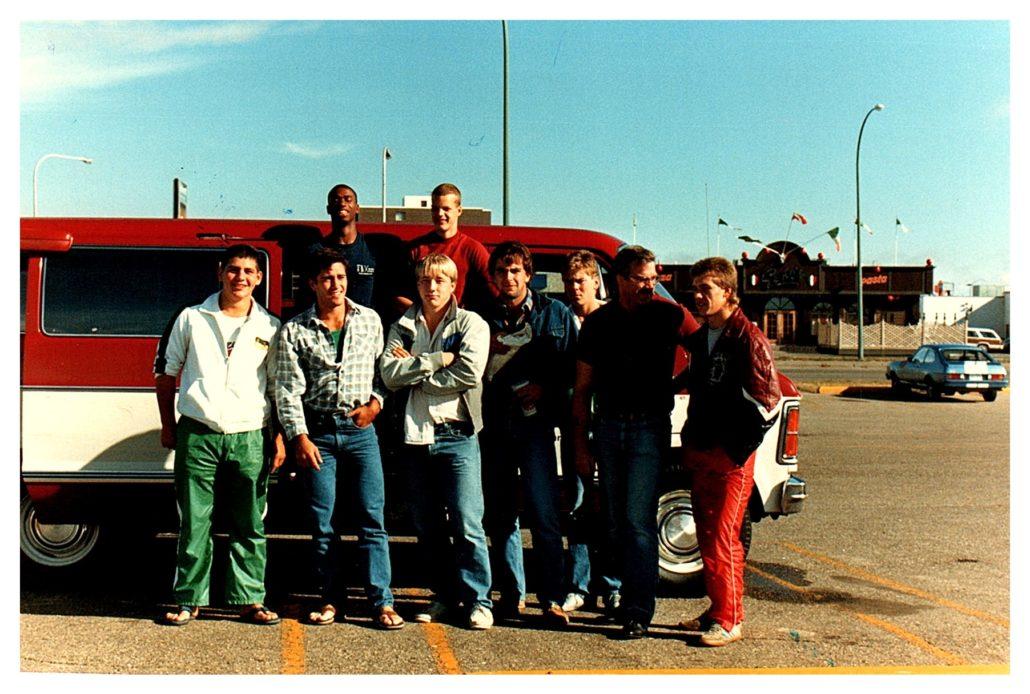 L->R : Don Alexander, Rob Beaudry, Tim Daum, Lyle Stewart, James Koch, Doug Herasymink, Jason Liscowich, Leo Lane Sr., Quinton Mackie  Missing : Kent Kammermeyer (co-captain), Larry Sawtsky, Tom Bryant (co-coach)